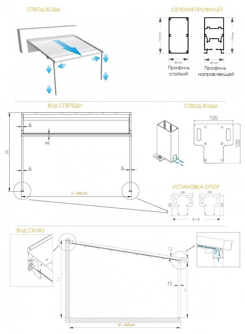 Пергола для террасы Ombra 4x4 м белый-белый-LED-automat