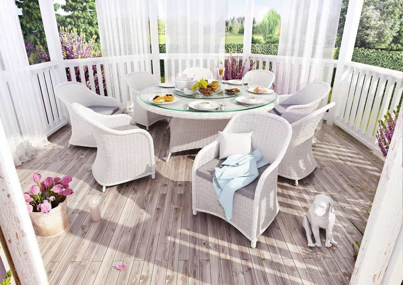 Садовый стол RONDO 180 см белый