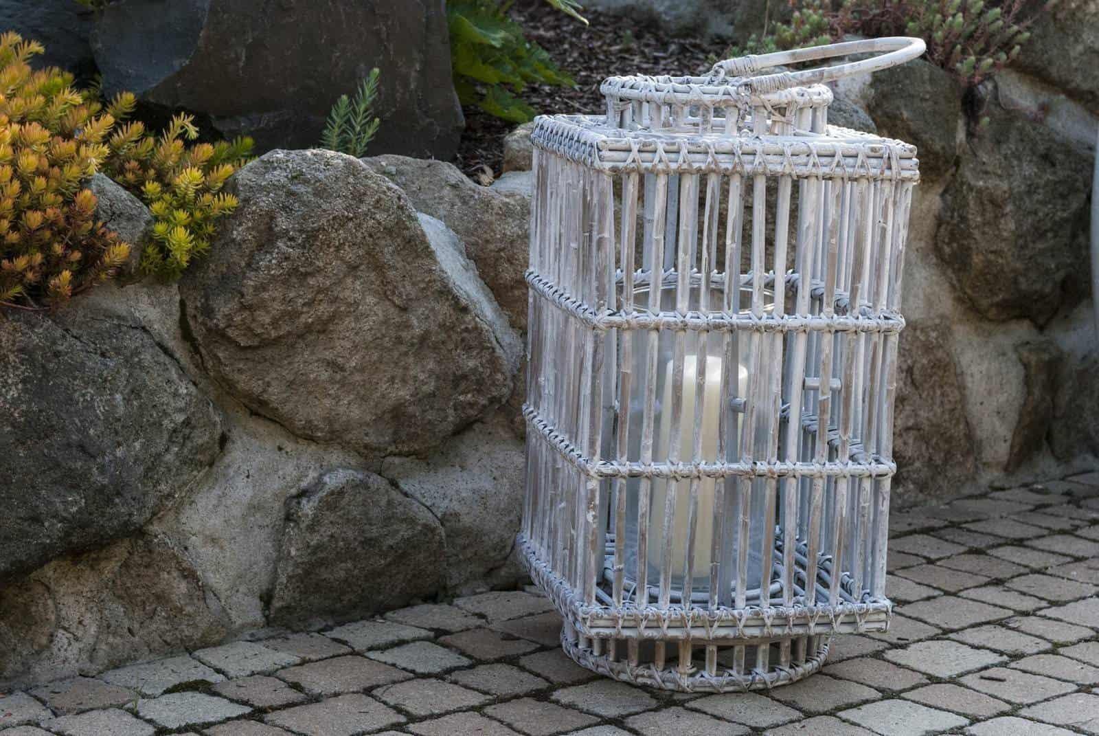 Лампион квадратный ROUSILLON шир.27см x глуб.27см x выс.50см белый потертый