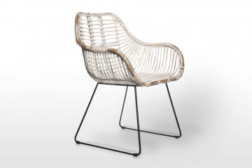 Ретро-кресло из ротанга LAVAL белое потертое